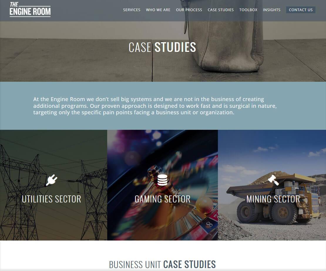 The Engine Room Case Studies Webpage Designed by Wonderment Apps