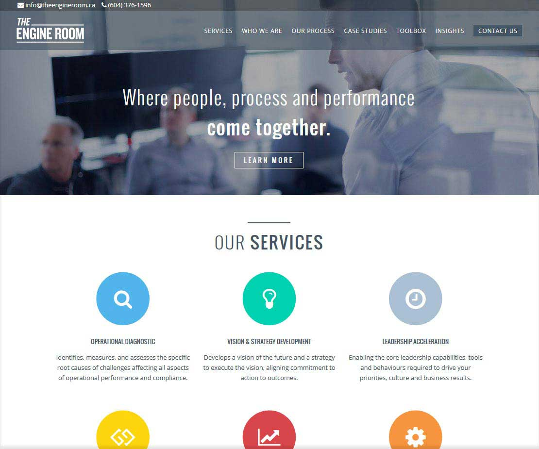 The Engine Room Homepage Designed by Wonderment Apps